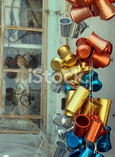 Colorful Greek Wine Carafes Royalty Free Stock Photo