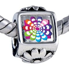Pugster Bead Groovy Hypnotic Multicolored Beads Fits Pandora Bracelet Pugster. $12.49. It's the photo on the flower charm. Hole size is approximately 4.8 to 5mm. Unthreaded European story bracelet design. Bracelet sold separately. Fit Pandora, Biagi, and Chamilia Charm Bead Bracelets