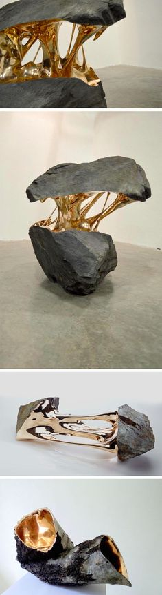 Bisected Boulders With Stretched Bronze Interiors by Romain Langlois If I were a sculpture piece. Instalation Art, Colossal Art, Wow Art, Art Plastique, Sculpture Art, Bronze Sculpture, Sculpture Ideas, Oeuvre D'art, Bouldering