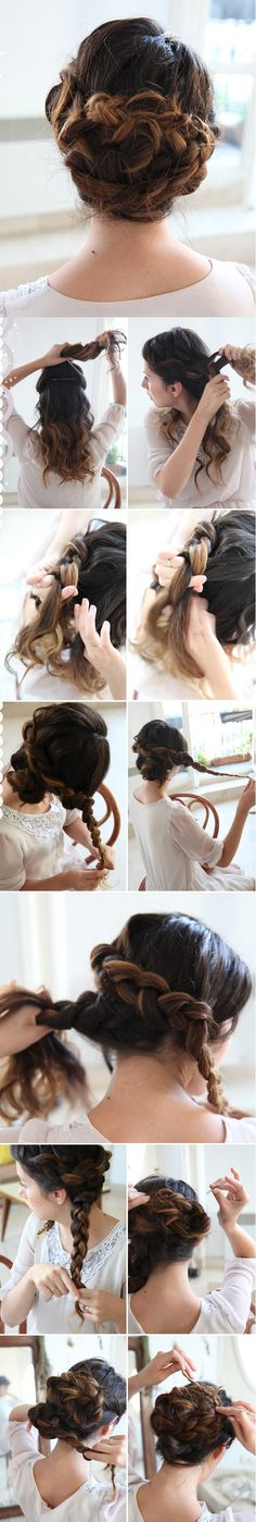 double braid updo | she lets her hair down