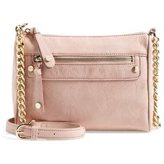 Junior Women's Bp. Double Stud Crossbody Bag ($32) ❤ liked on Polyvore featuring bags, handbags, shoulder bags, shoulder strap bags, chain shoulder bag, pink purse, vegan handbags and studded shoulder bag