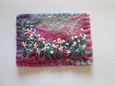 felt aceo original ace pink flowers by SueForeyfibreart on Etsy Wet Felting, Needle Felting, Felt Pictures, Blanket Stitch, Hand Stitching, Fiber Art, Pink Flowers, Hand Sewing