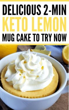 Keto lemon mug cake in a microwave in 2 minutes or less! Try this delicious almond flour mug cake recipe for a quick&easy treat. This keto friendly lemon mug cake is the best low carb dessert you will ever try! Keto Friendly Desserts, Low Carb Desserts, Low Carb Recipes, Healthy Lemon Desserts, Raw Desserts, Health Desserts, Healthy Meals, Vegan Recipes, Keto Cookies