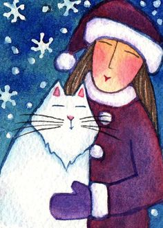 Cat Lady and Snowflake White Kitty Original ACEO watercolor painting by SusanFayePetProjects on Etsy, $15.00