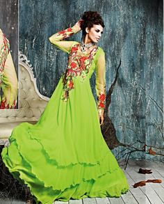 Green anarkali suit with floral embroidered yoke   1. Green georgette anarkali suit2. Floral embroidered yoke and back3. Green flare 4. Comes with matching bottom and dupatta 5. Can be stitched upto size 42 inches