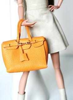 Fashion royalty ,barbie  orange leather  DOLL BIRKIN bag. $20.00, via Etsy.