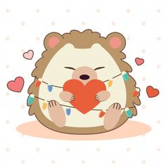 The Character Of Cute Hedgehog Sitting On The Ground And Holding A Heart. Hedgehog Drawing, Hedgehog Art, Cute Hedgehog, Wallpaper Kawaii, Funny Phone Wallpaper, Homemade Cat Toys, Bullet Journal Lettering Ideas, Guinea Pig Toys, Cute Animal Drawings