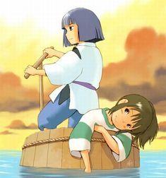 Haku and Chihiro.