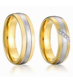 nemesacél gyűrű, 3 sávos, nemesacél férfi karikagyűrű arany