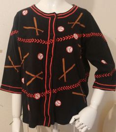 Womens-Size-L-Michael-Simon-Black-Red-Baseball-Softball-Cardigan-Sweater