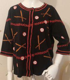 Womens-Size-L-Michael-Simon-Black-Red-Baseball-Softball-Cardigan-Sweater