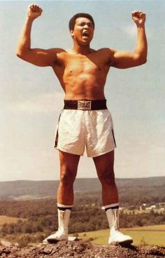 "A great poster of Heavyweight Champion Muhammad Ali - ""king of the mountain"" at his training camp near Deer Lake, PA! Ships fast. 11x17 inches. Our amazing sele"