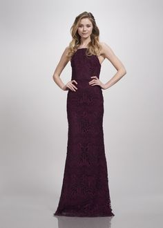 Brides   Bridesmaids Photos - Lace High Neck Gown in Aubergine by THEIA 300feaa3b