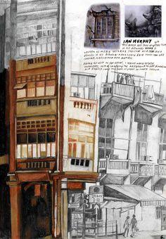Inspired by ian murphy drawings a level art sketchbook, sketchbook pages, pencil drawings, Architecture Sketchbook, Architecture Panel, Amazing Architecture, A Level Art Sketchbook, Sketchbook Pages, Arte Black, Ap Studio Art, Deco, Art Drawings