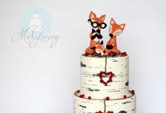 Fox family & birch tree log cake!