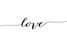Poster in Schwarz-Weiß mit Schriftzug Love.