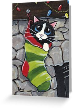 Cute Animal Illustration Gifts and Products UK illustrator, Lisa Marie Robinson. LisaMarieArt is dedicated solely to Lisa Marie's hand painted illustrations. Cute Animal Illustration, Art And Illustration, Illustrations, Christmas Animals, Christmas Cats, Christmas Stockings, Xmas, Merry Christmas, Cat Cards
