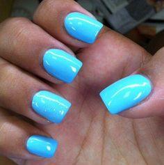 Great blue polish nail color