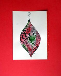Zentangle watercolor card,Christmas Ornament ,Original zentangle ornament, Christmas, card, handpainted. $4.75, via Etsy.