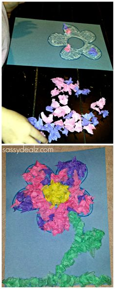 Tissue Paper Flower craft for kids to do! #Spring crafts #DIY #Flower Art project | CraftyMorning.com