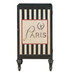 Splurge on a bottle or two of the bubbly to store in this tres chic bar cabinet. It features a whimsical, hand-painted design on the door and sits atop turned legs. The interior includes a built-in rack for stemware and an adjustable bottle rack that can be flipped to act as a shelf.