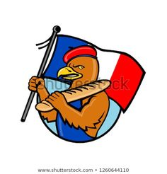 French Eagle Holding Flag and Baguet by patrimonio on Cartoon style illustration of a French eagle holding a flag of France and baguette bread set inside circle of isolated background. Cartoon Styles, Cartoon Art, France Flag, Design Bundles, Royalty Free Stock Photos, Eagle, Baguette Bread, Graphic Design, French