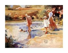Picnic At the Lake Vibrant Colors, Picnic, Watercolor, Art Prints, Shop, Poster, Painting, Decor, Pen And Wash