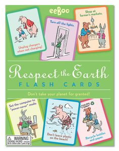 eeBoo Respect the Earth Flash Cards - Vintage-style animal illustrations adorn flashcards with important messages for modern living.