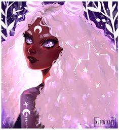 Suggest a name for this painting! Whenever I draw white hair I can't resist myself from adding the crescent moon ☺️hope you are not tired… Black Girl Cartoon, Cartoon Girl Drawing, Cartoon Art, Black Love Art, Black Girl Art, Pretty Art, Cute Art, Character Inspiration, Character Art
