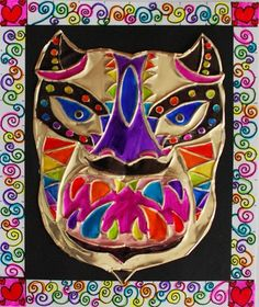 metal mask- yarn, foil, sharpies