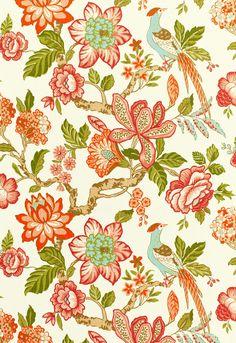 Fabric | Huntington Gardens in Coral | Schumacher