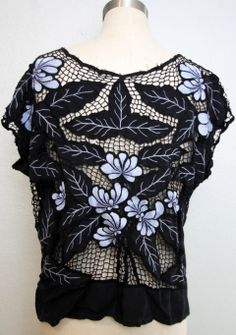 1980s floral cutwork top/ 80s mesh crochet floral top/ hippie boho/ bali/ small…