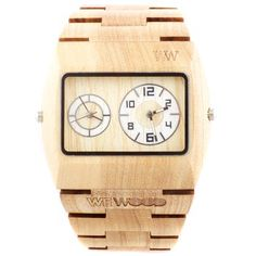 Limited Edition Wood Watch. This elegant watch is crafted from organic maple, a wood that's used for both culinary purposes (smokehouses are often made of maple) and as the raw material for musical instruments like guitars and violins. $140.00