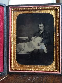 FULL CASED 1/4 PLATE TINTYPE - TEENAGE BOY & HIS MASSIVE DOG - SUPER RARE IMAGE!