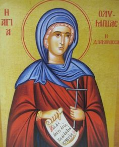 The icon of Saint Olympias which Penny, a former parish assistant at St Chrysostom's gave to church has been put in place. It is on the north side of the aisle, opposite the icon of our patron, St . John Chrysostom, Church Icon, Saint A, Byzantine Icons, Orthodox Christianity, Confirmation Gifts, Pray For Us, Catholic Saints, Son Of God