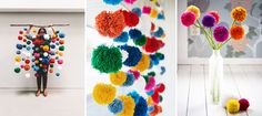 Collection of colourful & creative pom pom crafts for adding a touch of whimsy to your home, kid's bedrooms, or party - yarn and tissue paper pom pom ideas