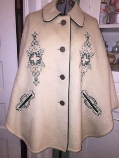 Vintage BOOS AUSTRIAN STYLECape Cloak Wool Embroidered Old Coin Buttons Costume  | eBay