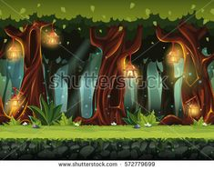 Vector cartoon illustration of the fairy forest for the game UI. . For print, create videos or web graphic design, user interface, card, poster.
