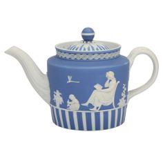 A Rare Wedgwood Jasper Teapot - A rare Wedgwood white on blue dip jasper teapot decorated with Lady Templetown motifs, upper case mark . Circa 1785-95. Leo Kaplan Ltd., New York