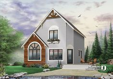 Discover the plan 4919 - The Woodlette 2 from the Drummond House Plans house collection. 2 to 3 bedroom affordable home plan, transitional home design, with mezzanine and open floor plan. Total living area of 1295 sqft. Cottage Style House Plans, Cottage Style Homes, Cottage Design, House Design, Contemporary House Plans, Modern House Plans, Small House Plans, A Frame House Plans, House Plans And More