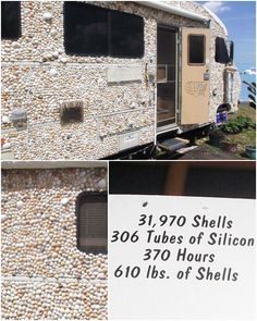 Extreme shell houses, including a house on wheels, all covered in shells. Would you take your love for shells and shelling this far? Featured on Completely Coastal. Shell House, Shell Game, Trailer Decor, Car Covers, Vintage Trailers, House On Wheels, Coastal Living, Sea Shells, Rv