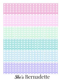 This page includes bubblegum pink, pastel pink, mint, turquoise, sky blue and lavender heart checklists.