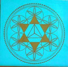 Bild mit drei Symbolen, Blume des Lebens, Hexagramm, Sterntetraeder, Türkis…