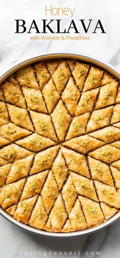 Honey Baklava Recipe - Saving Room for Dessert Honey Baklava Recipe with Walnuts and Pistachios - layers and layers of flaky phyllo slathered with melted butter, honey and loads of nuts - who can resist a slice of this delicious Honey Baklava Recipe? Walnut Recipes, Honey Recipes, Greek Recipes, Recipe With Honey, Recipes With Walnuts, Greek Dessert Recipes, Cooking With Honey, Easy Recipes, Snack Recipes