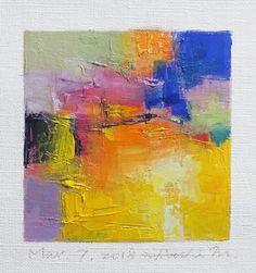 7 mars 2018 peinture - abstrait peinture à l'huile - 9 x 9 (9 x 9 cm - environ 4 x 4 pouces) avec 8 x 10 pouces mat