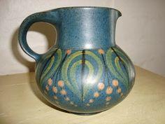 Dybdahl Ceramics. Jug from 1950-70es. Signed DYBDAHL. #dybdahl #palle #margrethe #ceramics #pottery #jug #dansk #keramik #kande #klitgaarden. SOLGT/SOLD from www.klitgaarden.net.