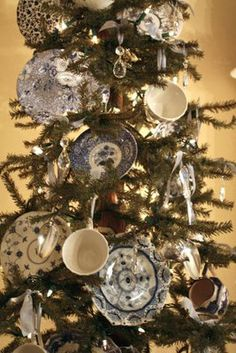 China & Crystal decorated tree perfect for the Dining Room or Kitchen