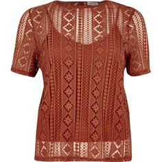 River Island Dark orange embroidered lace top ($60) via Polyvore featuring tops, orange, lace cami top, lace camisole tops, short sleeve tops, brown cami top and embroidered top