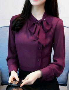 Bowknot Stand Collar Single-Breasted Women's Blouse - Outfits for Work - Blouse Styles, Blouse Designs, Cool Shirt Designs, Collar Designs, Stylish Dresses, Fashion Dresses, Women's Fashion, Shirt Style Dresses, Fashion Blouses
