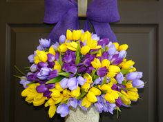 spring wreath Easter wreaths tulip wreath front door by aniamelisa